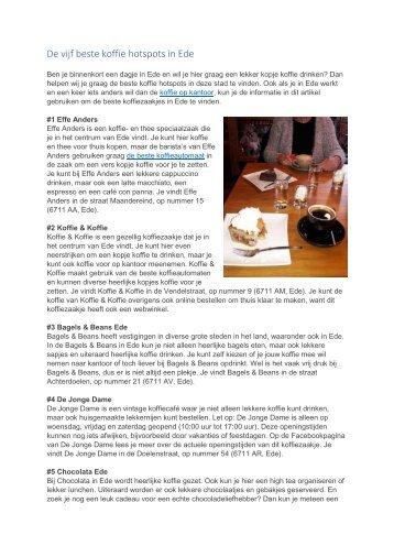 De vijf beste koffie hotspots in Ede