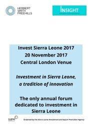 Invest Sierra Leone 2017 programme