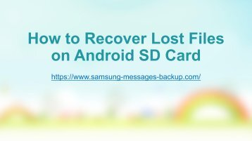 How to Recover Lost Files on Android SD Card
