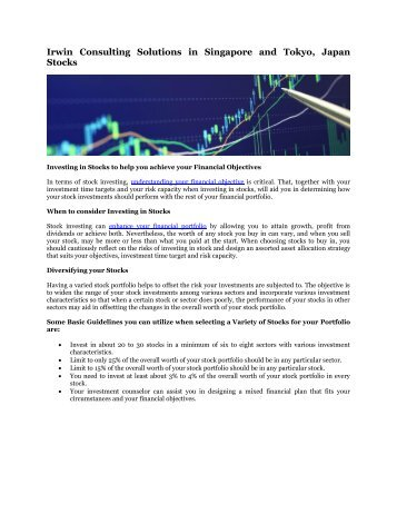 Irwin Consulting Solutions in Singapore and Tokyo, Japan Stocks