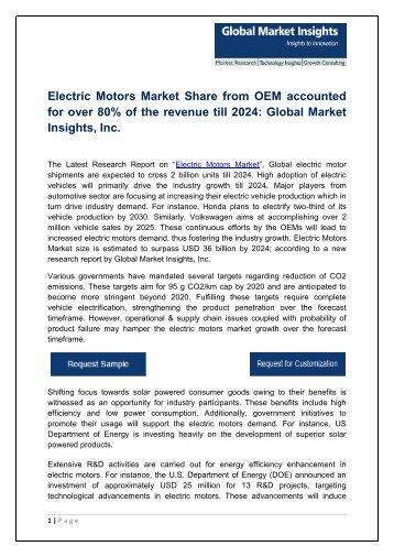 Electric Motors Market segmentation in small DC motors for automotive highest revenue share surpassing USD 26 billion by 2024