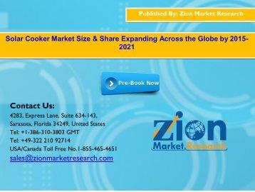 Global Solar Cooker Market, 2015-2021