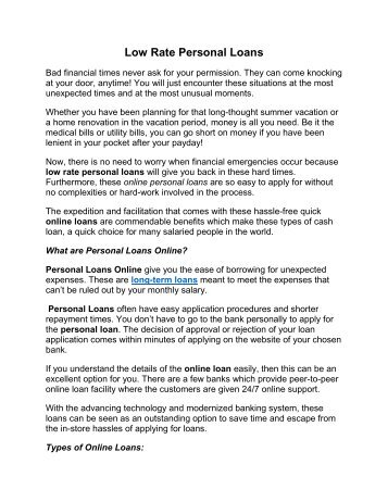 Low Rate Personal Loans