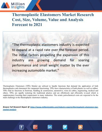 Thermoplastic Elastomers (TPE) Market Research Report 2021