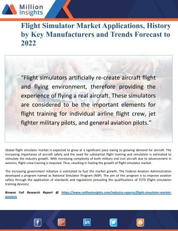 Flight Simulator Market Size, Status and Forecast Report 2022