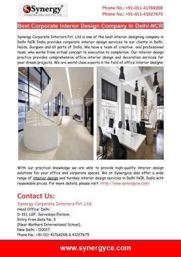 Best Corporate Interior Design Company In Delhi-NCR