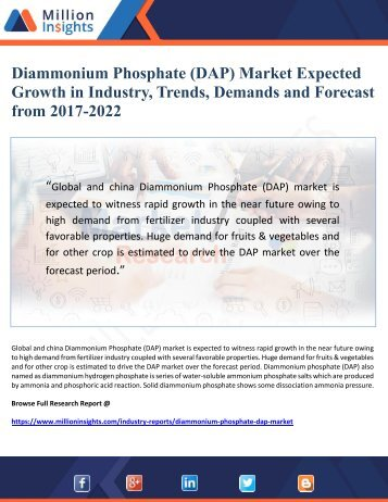 Diammonium Phosphate (DAP) Market Expected Growth in Industry, Trends, Demands and Forecast from 2017-2022