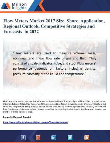 Flow Meters Market 2017 Size, Share, Application, Regional Outlook, Competitive Strategies and  Forecasts  to 2022