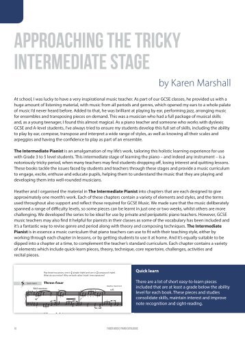 Approaching the tricky intermediate stage by Karen Marshall