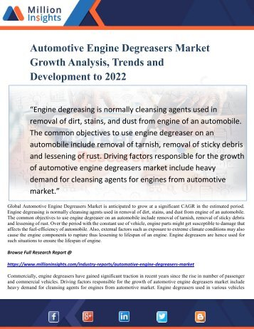 Automotive Engine Degreasers Market Growth Analysis, Trends and Development to 2022