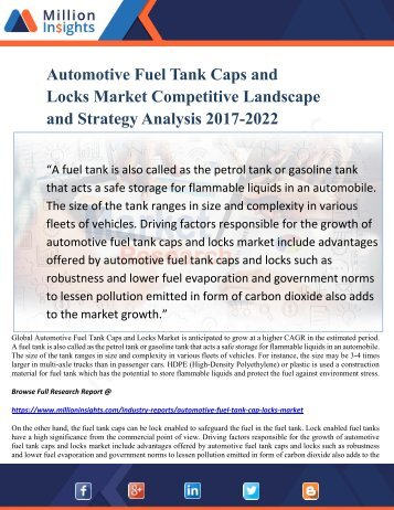 Automotive Fuel Tank Caps and Locks Market Size, Competitive Landscape and Strategy Analysis 2017-2022