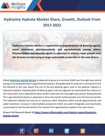 Hydrazine Hydrate Industry Trends, Analysis, Growth, Outlook and Overview 2022 By Million Insights