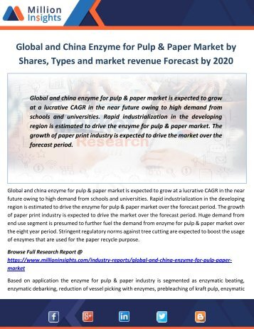 Global and China Enzyme for Pulp & Paper Market by Shares, Types and market revenue Forecast by 2020
