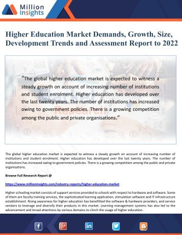 Higher Education Market Demands, Growth, Size, Development Trends and Assessments Report to 2022