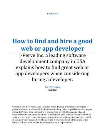 How to find and hire a good web or app developer