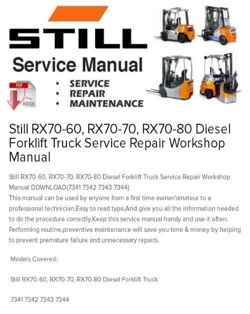 Still RX70-60, RX70-70, RX70-80 Diesel Forklift Truck