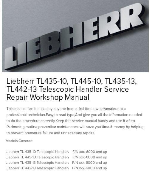 Liebherr TL435-10, TL445-10, TL435-13, TL442-13 Telescopic