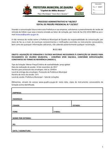 Edital PMQ PP 19_2017_Ferragens para confecção de grades para fechamento velório_Exclusivo ME_EPP