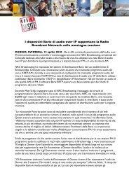 I dispositivi Barix di audio over IP supportano la Radio Broadcast ...