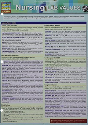 Online Book Nursing Lab Values (Quick Study Academic) - All Ebook Downloads