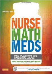 PDF The Nurse, The Math, The Meds: Drug Calculations Using Dimensional Analysis, 3e - All Ebook Downloads