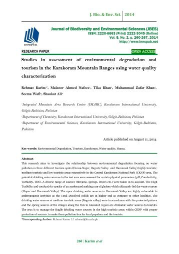Studies in assessment of environmental degradation and tourism in the Karakoram Mountain Ranges using water quality characterization