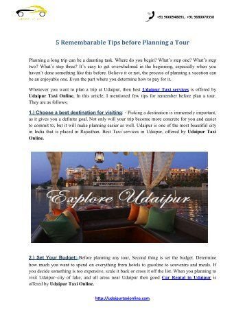 5 Remembarable Tips Before Planning a Tour