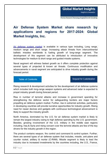 Air Defense System Market By Product, Technology, Application, Region – Forecast 2024
