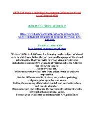 ARTS 230 Week 1 Individual Assignment
