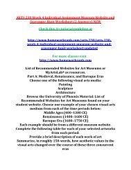 ARTS 230 Week 4 Individual Assignment