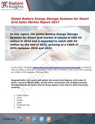 Global Battery Energy Storage Systems for Smart Grid Sales Market Report 2017