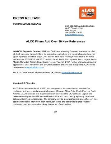 Alco Press Release - (ALCO Add Over 30 New References) - October 2017