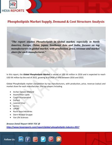 Phospholipids Market Supply, Demand & Cost Structure Analysis