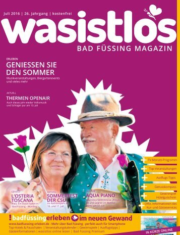 wasistlos Bad Füssing Magazin Juli 2016