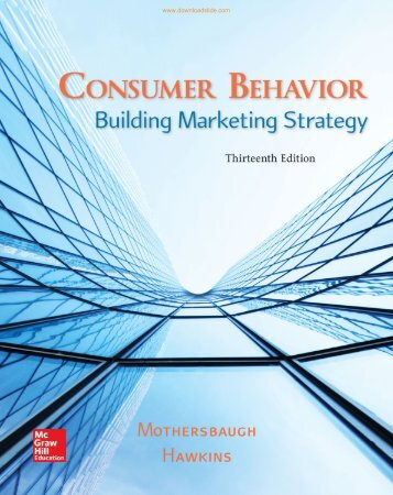 Consumer Behavior Building Marketing Strategy 13th Edition