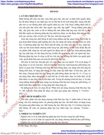 Phân tích nội dung chương trình hóa học 11 Đề xuất một số biện pháp nâng cao hiệu quả giảng dạy chương 3 Cacbon Silic [Performed by] Phạm Thị Thảo