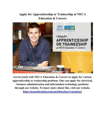 Apply for Apprenticeship or Traineeship at NECA Education & Careers