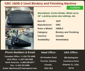 Buy Used GBC 16DB-2 Bindery and Finishing Machine
