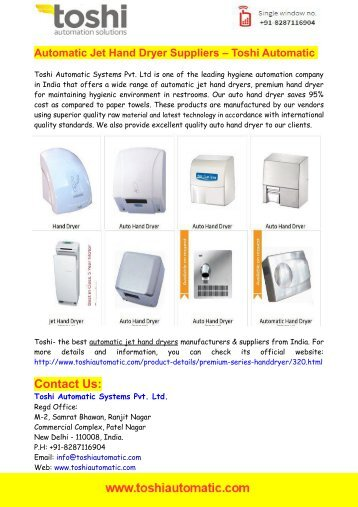 Automatic Jet Hand Dryer Suppliers – Toshi Automatic