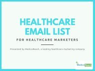 Verified List of Healthcare Email Database - MedicoReach