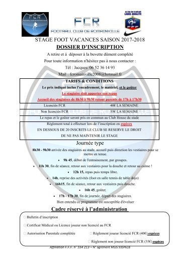DOSSIER STAGE SAISON 2017-2018
