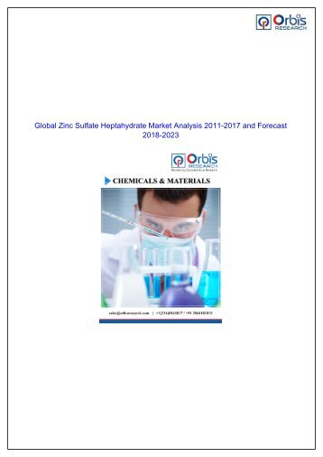 Growth of Zinc Sulfate Heptahydrate Market Projected to Amplify During 2018 - 2023