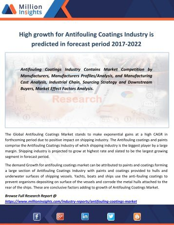High growth for Antifouling Coatings Industry is predicted in forecast period 2017-2022