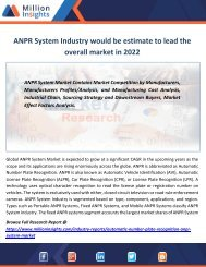ANPR System Industry would be estimate to lead the overall market in 2022