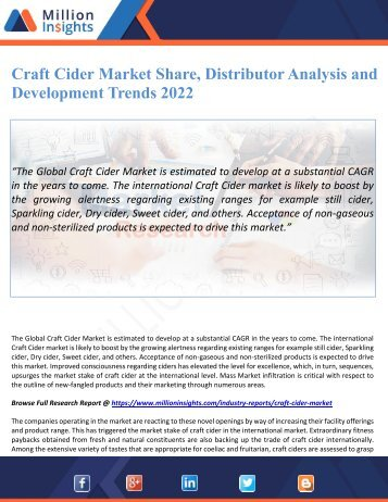 Craft Cider Market Share, Distributor Analysis and Development Trends 2022