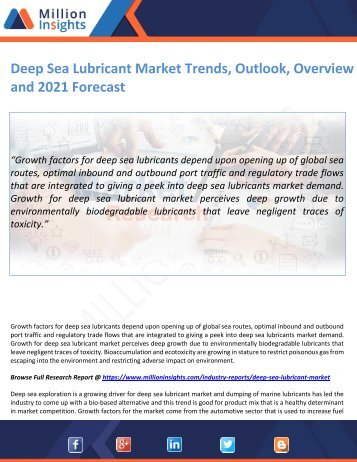 Deep Sea Lubricant Market Trends, Outlook, Overview and 2021 Forecast