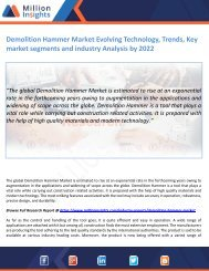 Demolition Hammer Market Evolving Technology, Trends, Key market segments and industry Analysis by 2022