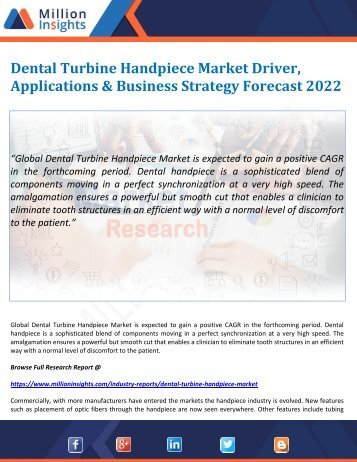 Dental Turbine Handpiece Market Driver, Applications & Business Strategy Forecast 2022