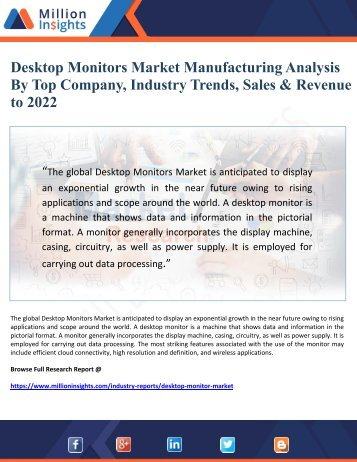 Desktop Monitors Market Manufacturing Analysis By Top Company, Industry Trends, Cost & Revenue to 2022