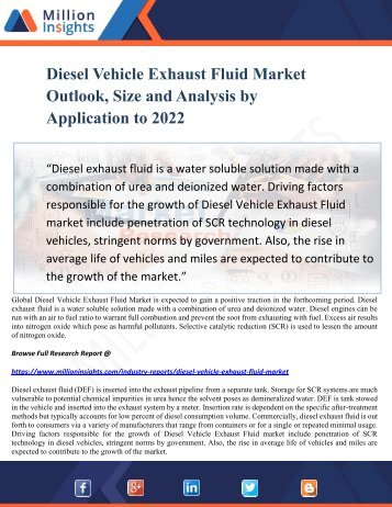 Diesel Vehicle Exhaust Fluid Market Outlook, Size and Analysis by Application to 2022